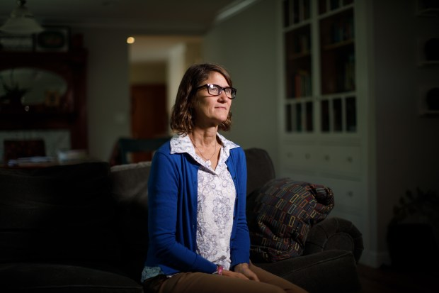 Portrait: One of the participants of the Talking Across Borders project, Carol Stephenson of San Jose, is an opponent of increased immigration enforcement. She was photographed on Aug. 8, 2017 at her San Jose home. (Dai Sugano/Bay Area News Group)