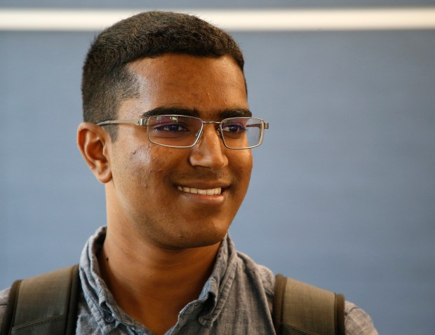 Student Arvind Sridhar is photographed during a new management, entrepreneurship, and technology, class at the University of California, Berkeley, on Thursday, Aug. 31, 2017, in Berkeley, Calif. The class is part of a new program this fall that will give students dual engineering and business degrees in just four years. (Aric Crabb/Bay Area News Group)