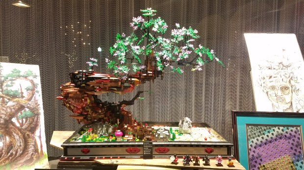 A bonsai tree made of Lego bricks and pieces by artist Patrick Hofmeister is on display at Campbell boutique Simply Smashing. (Photo courtesy Patrick Hofmeister)