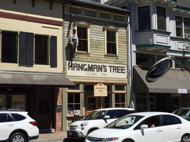 "The effigy of a hanged man marks the spot of the former ""hanging tree"" onPlacerville's historic Main Street, earning the town the moniker of Hangtown. (Angela Hill/Staff)"