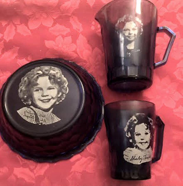 From 1934 to 1942, General Mills gave out millions of sets of Shirley Temple breakfast bowls, mugs and milk pitchers to consumers who mailed in a couple of cereal or biscuit box tops. (Photo courtesy of Jane Alexiadis)