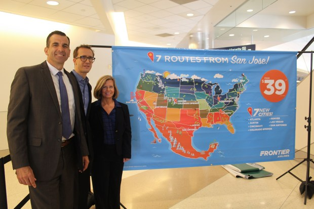 San Jose Mayor Sam Liccardo, San Jose Interim Assistant Director of Aviation Judy Ross, Frontier Airlines Senior Vice President Commercial Daniel Shurz, (pictured Left to Right) appear at San Jose airport to announce a Frontier Airlines route expansion. San Jose, CA. 9-19-2017