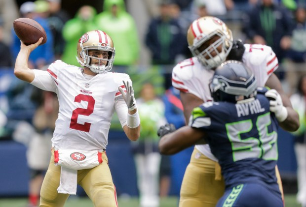 SEATTLE, WA - SEPTEMBER 17: Quarterback Brian Hoyer #2 of the San Francisco 49ers looks to pass during the second half of the game at CenturyLink Field on September 17, 2017 in Seattle, Washington. The Seattle Seahawks beat the San Francisco 49ers 12-9. (Photo by Stephen Brashear/Getty Images)