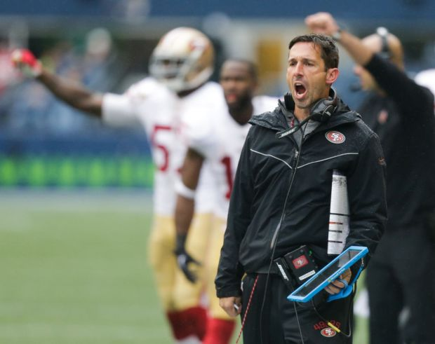 SEATTLE, WA - SEPTEMBER 17: Head coach Kyle Shanahan of the San Francisco 49ers yells after a call during the second half of the game against the Seattle Seahawks at CenturyLink Field on September 17, 2017 in Seattle, Washington. (Photo by Stephen Brashear/Getty Images)
