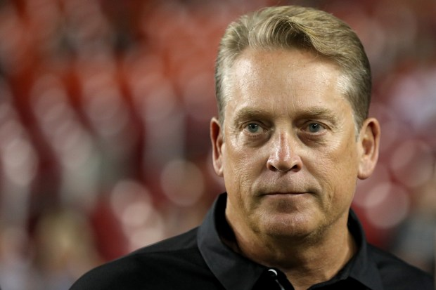 LANDOVER, MD - SEPTEMBER 24: Head coach Jack Del Rio of the Oakland Raiders looks on before the Washington Redskins play the Oakland Raiders at FedExField on September 24, 2017 in Landover, Maryland. (Photo by Patrick Smith/)