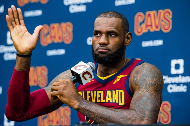 LeBron James #23 of the Cleveland Cavaliers talks to the media during Media Day at Cleveland Clinic Courts on September 25, 2017 in Independence, Ohio. (Photo by Jason Miller/Getty Images)
