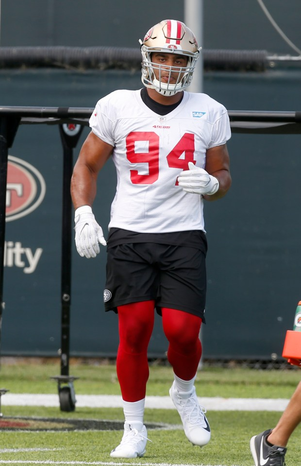 Solomon Thomas, #94, works out at the San Francisco 49ers practice on Wednesday, Sept. 6, 2017, preparing for the team's home opener against the Carolina Panthers at Levi's Stadium in Santa Clara, California. (Karl Mondon/Bay Area News Group)