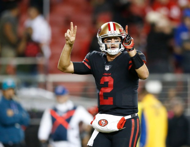 San Francisco 49ers starting quarterback Brian Hoyer (2) called out two point conversion against Los Angeles Rams in the fourth quarter of their NFL game at Levi's Stadium in Santa Clara, Calif., on Thursday, September 21, 2017. (Josie Lepe/Bay Area News Group)