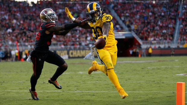 Los Angeles Rams' Todd Gurley II (30) scores a touch down against San Francisco 49ers' Dontae Johnson (36) in the second quarter of their NFL game at Levi's Stadium in Santa Clara, Calif., on Thursday, September 21, 2017. (Nhat V. Meyer/Bay Area News Group)
