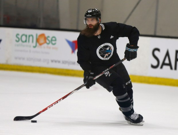 Brent Burns (88) and his San Jose Sharks teammates practice Friday, Sept., Sept. 15, 2017, at Solar4America Ice in San Jose, California. (Patrick Tehan/Bay Area News Group)