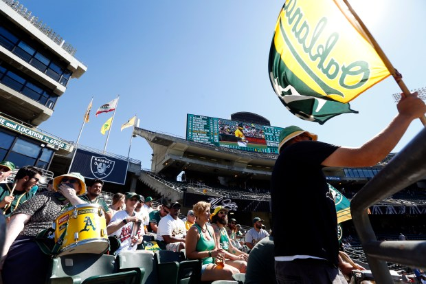 "The ""right field bleachers"" filled with dedicated A's fans cheer, wave flags, drum and chant during the last home A's game of the season at the Oakland-Alameda Coliseum in Oakland Calif., on Wednesday, Sept. 27, 2017. (Laura A. Oda/Bay Area News Group)"
