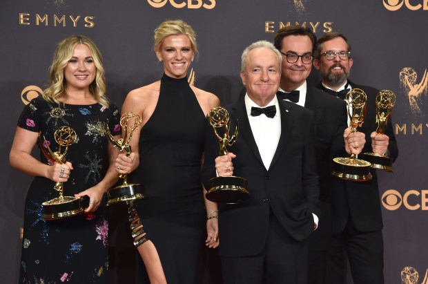 LOS ANGELES, CA - SEPTEMBER 17: (L-R) Producers Erin Doyle, Lindsay Shookus, Lorne Michaels, Steve Higgins, and Erik Kenward, winners of Outstanding Variety/Sketch Series for 'Saturday Night Live,' pose in the press room during the 69th Annual Primetime Emmy Awards at Microsoft Theater on September 17, 2017 in Los Angeles, California. (Photo by Alberto E. Rodriguez/Getty Images)