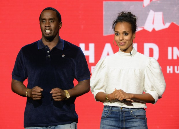 "UNIVERSAL CITY, CA - SEPTEMBER 12: In this handout photo provided by Hand in Hand, Sean ""Diddy"" Combs and Kerry Washington attend Hand in Hand: A Benefit for Hurricane Relief at Universal Studios AMC on September 12, 2017 in Universal City, California. (Photo by Kevin Mazur/Hand in Hand/Getty Images)"