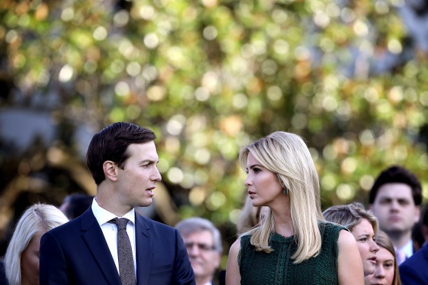 WASHINGTON, DC - SEPTEMBER 11: U.S. Ivanka Trump and Jared Kushner attend a ceremony on the South Lawn of the White House marking the September 11 attacks September 11, 2017 in Washington, DC. Today marks the 16th anniversary of the attacks that killed almost 3,000 people and wounded another 6,000. (Photo by Win McNamee/Getty Images)
