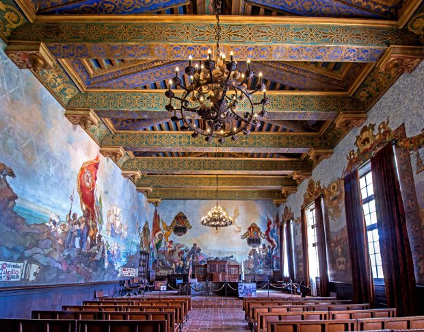 The Spanish-style Santa Barbara County Courthouse and its mural room are simplytoo beautiful to miss. Must Credit: Mark Weber/Visit Santa Barbara