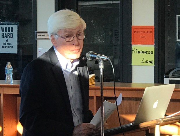 Tom Picraux,a member of The League of Women Voters Southwest Santa Clara Valley, presents the branch's local election finance study to the Los Gatos-Saratoga Joint Union High School School District board at their Aug. 29 meeting.
