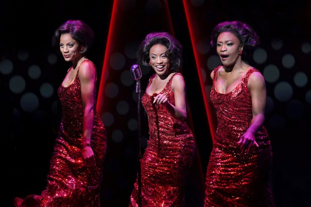 Taylor Symone Jackson, Candice Marie Woods, and Nasia Thomas as TheSupremes in the world premiere of Ain't Too Proud—The Life and Times of The Temptations at Berkeley Repertory Theatre. (Kevin Berne/Berkeley Repertory Theatre.)