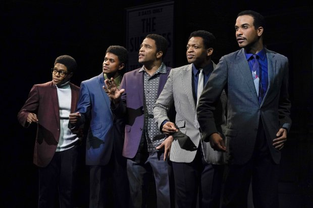 Ephraim Sykes (David Ruffin), Jeremy Pope (Eddie Kendricks), JamesHarkness (Paul Williams), Derrick Baskin (Otis Williams), and Jared Joseph (Melvin Franklin) in the world premiere of Ain't Too Proud—The Life and Times of The Temptations at Berkeley Repertory Theatre. (Kevin Berne/Berkeley Repertory Theatre)