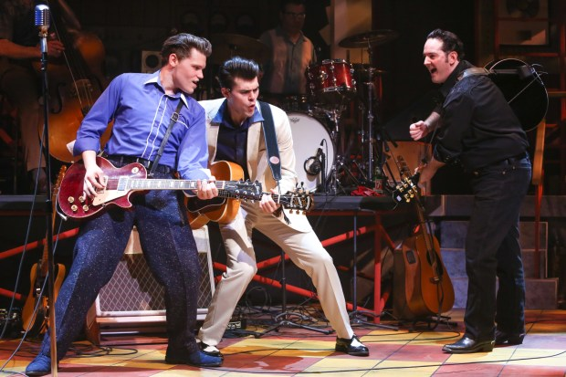 "GEVA THEATRE CENTERFrom left, John Michael Presney (playing Carl Perkins), Trent Rowland (Elvis Presley) and Sky Seals (Johnny Cash) star in ""Million Dollar Quartet."""