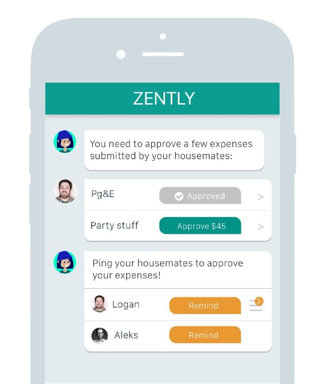 Roommates can use the Zently app to split housing-related bills. (Courtesyof Zently)