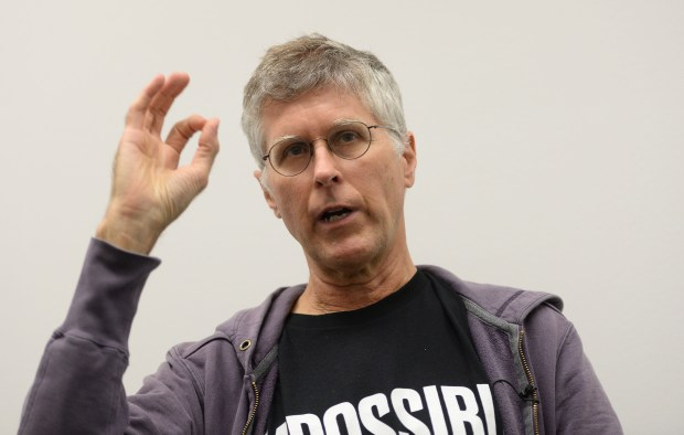 "Impossible Foods CEO/Founder Pat Brown answers questions during a presentationat the Impossible Foods offices in Redwood City, Calif., on Tuesday, Sept. 12, 2017. The company has developed a meatless ""burger"" that is currently being sold in some restaurants and recently opened a production facility in Oakland. (Dan Honda/Bay Area News Group)"