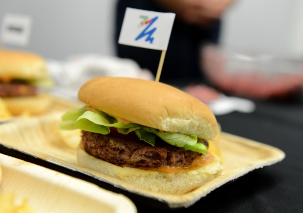 "An Impossible Burger burger photographed at the Impossible Foods offices in Redwood City, Calif., on Tuesday, Sept. 12, 2017. The company has developed a meatless ""burger"" that is currently being sold in some restaurants and recently opened a production facility in Oakland. (Dan Honda/Bay Area News Group)"