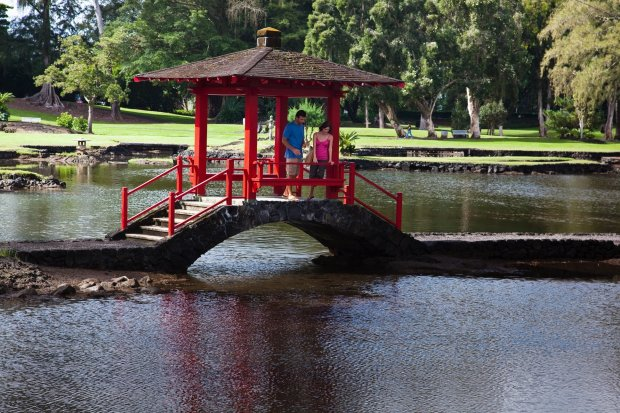The Liliuokalani Park and Gardens, donated by Hawaii's last queen to thepeople of Hilo, offers expansive and beautiful Japanese gardens that perfume the park. (Hawaii Tourism Authority)