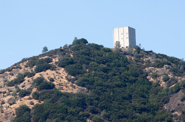 The summit of Mount Umunhum is seen from the road leading up to it in Los Gatos, California, on Monday, Sept. 11, 2017. The Midpeninsula Regional Open Space District officially opens a new park at the summit to the public following more than six years and $25 million of planning, demolition, construction and rebuilding the five-mile-long road to the top. (Gary Reyes/ Bay Area News Group)