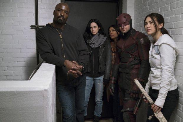 "Mike Colter, Krysten Ritter, Rosario Dawson, Charlie Cox and JessicaHenwick star in a Netflix original, ""The Defenders."" (Sarah Shatz - Netflix)"