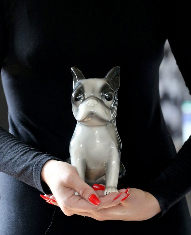 Emily Albrecht holds a ceramic figure of a Boston terrier. When her belovedBoston terrier, Franklin, died, he was taken to Resting Waters, which disposes of deceased pets in an eco-friendly way. (Alan Berner/Seattle Times/TNS)
