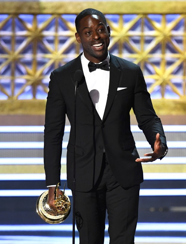 """LOS ANGELES, CA - SEPTEMBER 17: Actor Sterling K. Brown accepts the Outstanding Lead Actor in a Drama Series for """"This Is Us"""" onstage during the 69th Annual Primetime Emmy Awards at Microsoft Theater on September 17, 2017 in Los Angeles, California. (Photo by Kevin Winter/Getty Images)"""