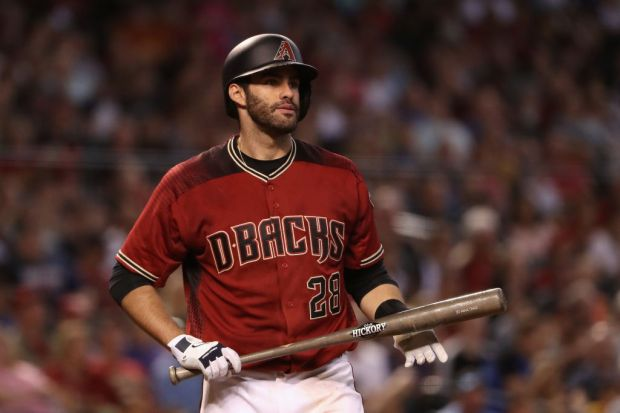 PHOENIX, AZ - SEPTEMBER 24: J.D. Martinez #28 of the Arizona Diamondbacks bats against the Miami Marlins during the MLB game at Chase Field on September 24, 2017 in Phoenix, Arizona. (Photo by Christian Petersen/Getty Images)