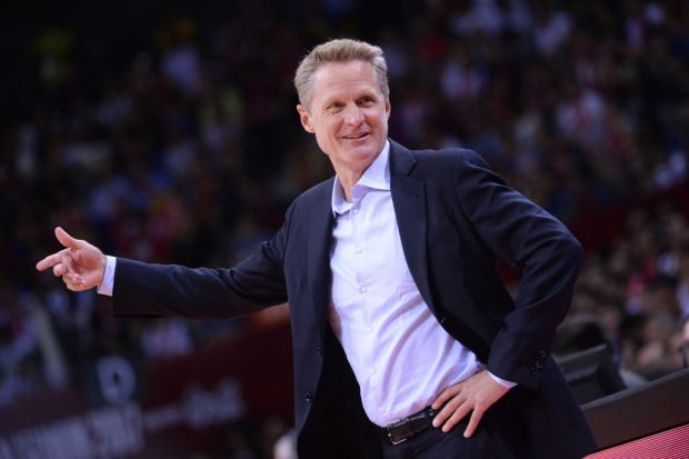 SHENZHEN, CHINA - OCTOBER 05: Steve Kerr of the Golden State Warriors coaches against the Minnesota Timberwolves as part of 2017 NBA Global Games China on October 5, 2017 in Shenzhen, China at Shenzhen Universidade. NOTE TO USER: User expressly acknowledges and agrees that, by downloading and/or using this Photograph, user is consenting to the terms and conditions of the Getty Images License Agreement. Mandatory Copyright Notice: Copyright 2017 NBAE (Photo by Noah Graham/NBAE via Getty Images)