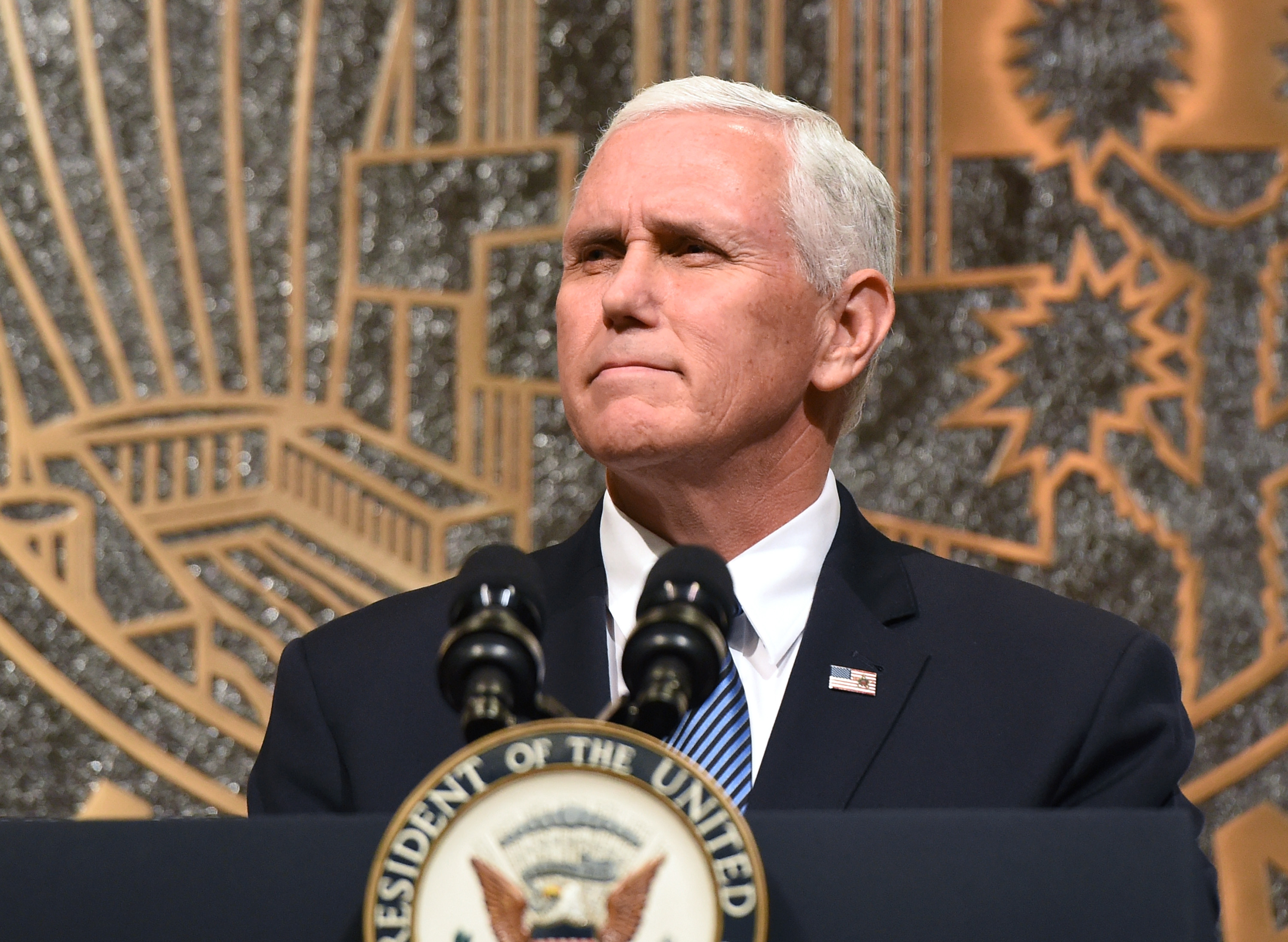 LAS VEGAS NV- OCTOBER 07 U.S. Vice President Mike Pence speaks at the culmination of a faith unity walk held to help the community heal after Sunday's mass shooting at Las Vegas City Hall