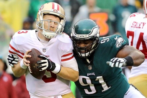 PHILADELPHIA, PA - OCTOBER 29: C.J. Beathard #3 of the San Francisco 49ers is sacked by Fletcher Cox #91 of the Philadelphia Eagles in the second quarter during their game at Lincoln Financial Field on October 29, 2017 in Philadelphia, Pennsylvania. (Photo by Abbie Parr/Getty Images)