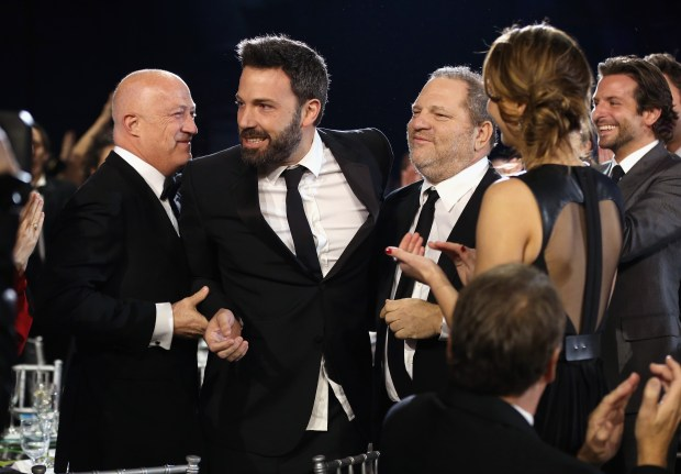 SANTA MONICA, CA - JANUARY 10: (L-R) Co-Chairman of Creative Artists Agency Bryan Lourd, director Ben Affleck and co-chairmen of The Weinstein Company Harvey Weinstein attend the 18th Annual Critics' Choice Movie Awards held at Barker Hangar on January 10, 2013 in Santa Monica, California. (Photo by Christopher Polk/Getty Images for BFCA)