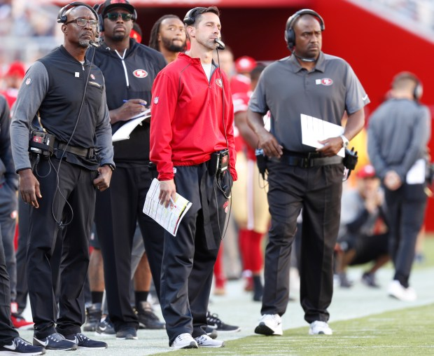 San Francisco 49ers head coach Kyle Shanahan stands on the sidelines during their game against the Dallas Cowboys in the fourth quarter of their NFL game at Levi's Stadium in Santa Clara, Calif. on Sunday, Oct. 22, 2017. (Nhat V. Meyer/Bay Area News Group)