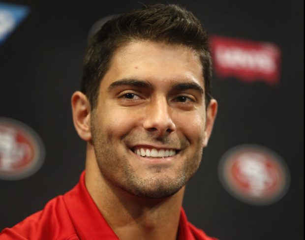Jimmy Garoppolo at his introductory press conference.