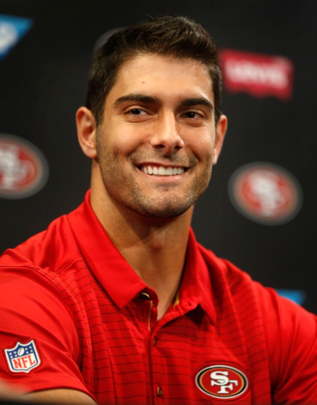 New 49ers quarterback Jimmy Garoppolo takes questions from the media in the Levi's Stadium auditorium in Santa Clara, California, Tuesday, Oct. 29, 2017. (Patrick Tehan/Bay Area News Group)