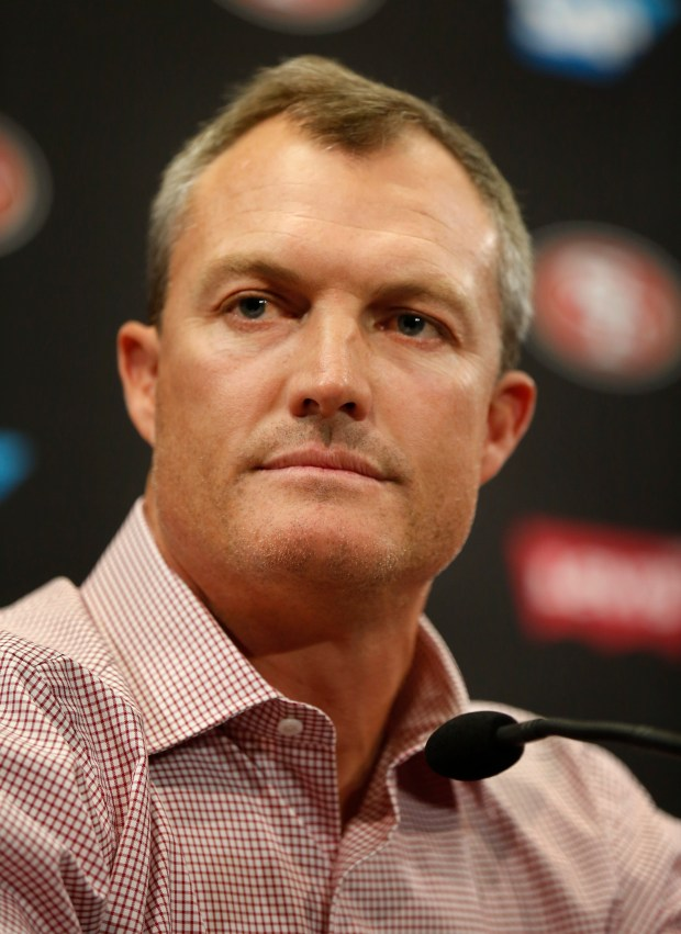 San Francisco 49ers general manager John Lynch takes questions from the media as the 49ers introduce their new quarterback, Jimmy Garoppolo, in the Levi's Stadium auditorium along with head coach Kyle Shanahan in Santa Clara, California, Tuesday, Oct. 29, 2017. (Patrick Tehan/Bay Area News Group)