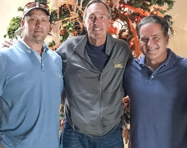 Dwight Clark, shown here in a recent photo with former 49ers fullback TomRathman (left) and former coach Steve Mariucci (right) will be honored at Levi's Stadium on Sunday. (Photo courtesy: Kirk Reynolds)
