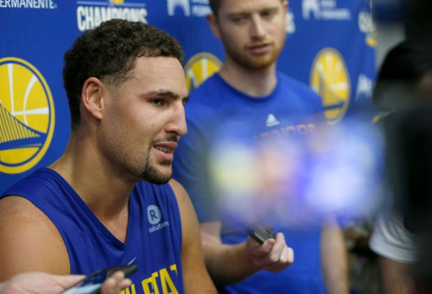 Golden State Warriors' Klay Thompson speaks during a press conference after practice at their facility in downtown Oakland. (Jane Tyska/Bay Area News Group)