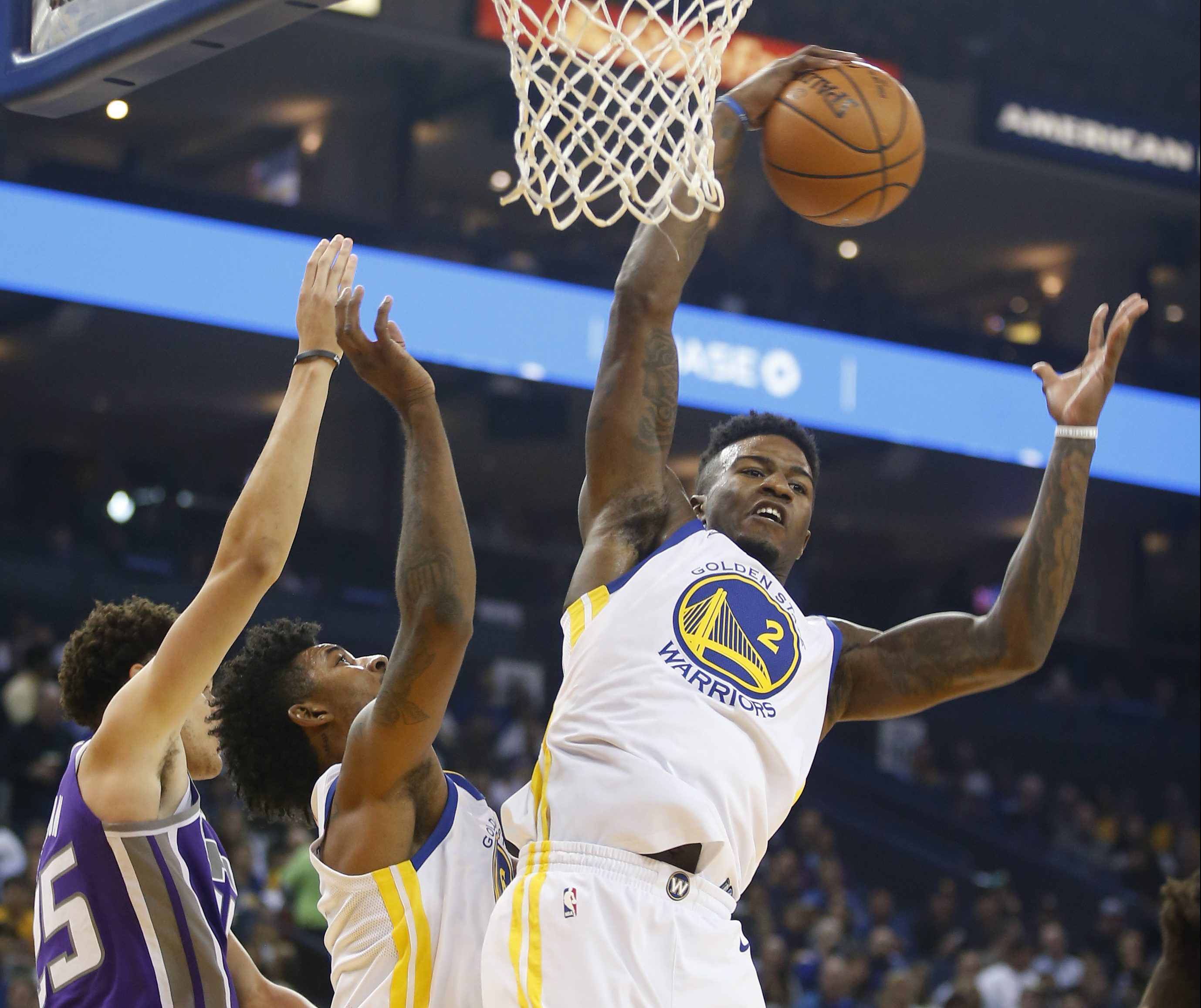 Golden state warriors forward jordan bell grabs  rebound against the sacramento kings in first quarter at oracle arena on friday oct also has etched himself into  rotation rh mercurynews