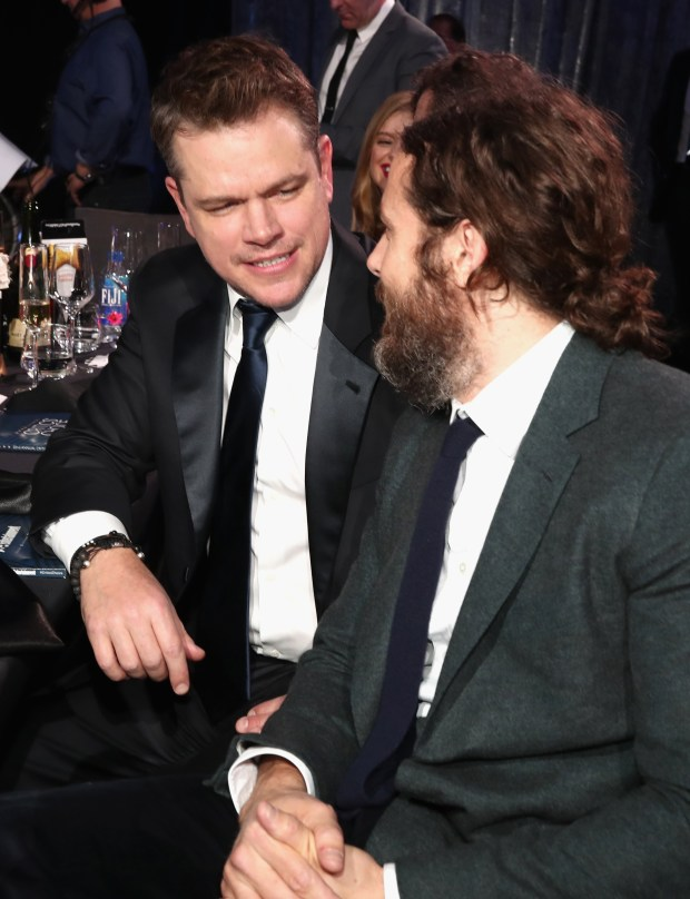 SANTA MONICA, CA - DECEMBER 11: Actor/producer Matt Damon (L) and actor Casey Affleck attend The 22nd Annual Critics' Choice Awards at Barker Hangar on December 11, 2016 in Santa Monica, California. (Photo by Christopher Polk/Getty Images for The Critics' Choice Awards )