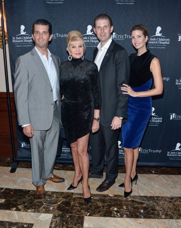 BRIARCLIFF MANOR, NY - SEPTEMBER 21: (L-R) Donald Trump Jr., Ivana Trump, Eric Trump and Ivanka Trump attend the 9th Annual Eric Trump Foundation Golf Invitational Auction & Dinner at Trump National Golf Club Westchester on September 21, 2015 in Briarcliff Manor, New York. (Photo by Grant Lamos IV/Getty Images)