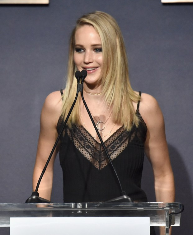 LOS ANGELES, CA - OCTOBER 16: Honoree Jennifer Lawrence accepts award onstage at ELLE's 24th Annual Women in Hollywood Celebration presented by L'Oreal Paris, Real Is Rare, Real Is A Diamond and CALVIN KLEIN at Four Seasons Hotel Los Angeles at Beverly Hills on October 16, 2017 in Los Angeles, California. (Photo by Frazer Harrison/Getty Images for ELLE)