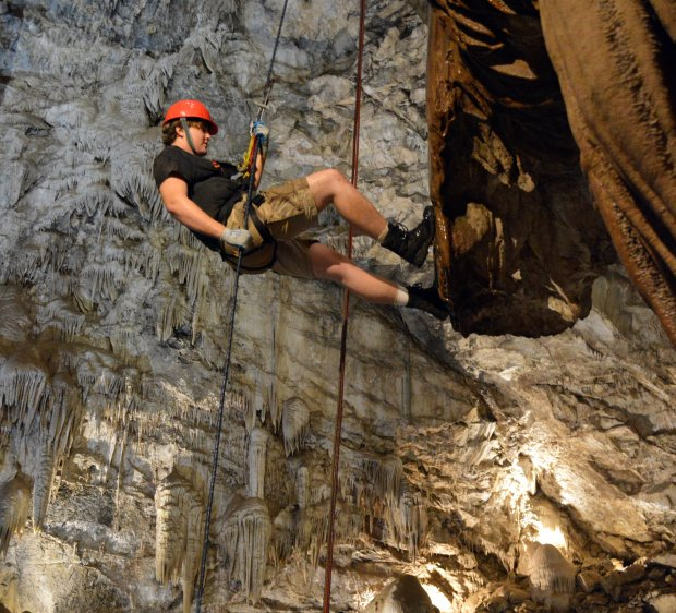 Rappeling down one of the state's largest vertical chambers is one featureof Moaning Cavern in Vallecito. (Serena Deininger/Calaveras Visitors Bureau)