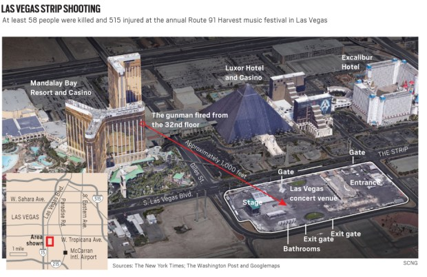 Map of Las Vegas shooting Where was the killer