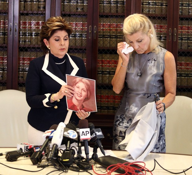LOS ANGELES, CA - AUGUST 15: Attorney Gloria Allred and her client Robin during press conference on August 15, 2017 in Los Angeles, California. (Photo by Frederick M. Brown/Getty Images)