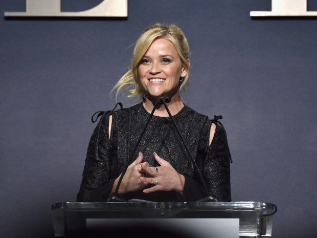 LOS ANGELES, CA - OCTOBER 16: Reese Witherspoon speaks onstage during ELLE's 24th Annual Women in Hollywood Celebration presented by L'Oreal Paris, Real Is Rare, Real Is A Diamond and CALVIN KLEIN at Four Seasons Hotel Los Angeles at Beverly Hills on October 16, 2017 in Los Angeles, California. (Photo by Frazer Harrison/Getty Images for ELLE)